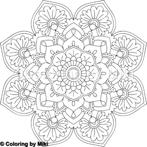 Flower Mandala Coloring Page 2