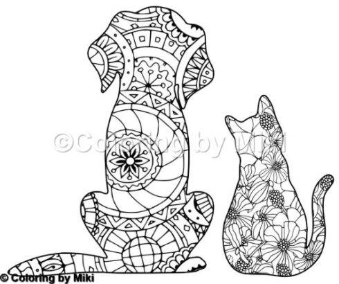 Cat And Dog Zentangle Coloring Page 190