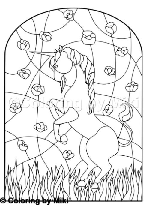 Unicorn Stained Glass Coloring Page 198 Coloring By Miki