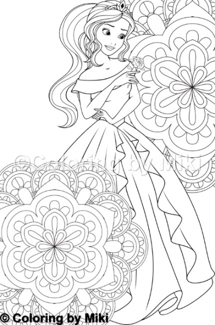 mandala and princess coloring page 270  u2013 coloring by miki
