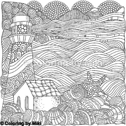 Zentangle Lighthouse Coloring Page
