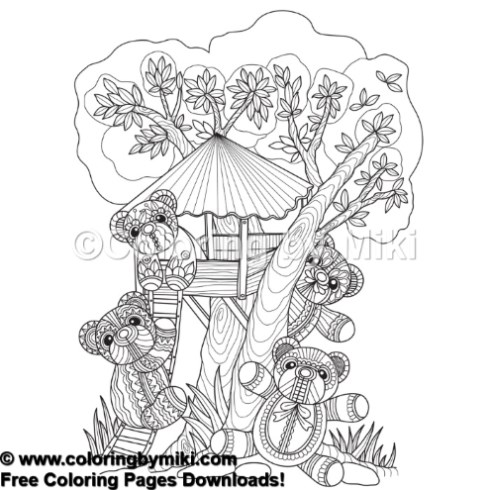 zentangle style tree house teddy bear coloring page 467 coloring