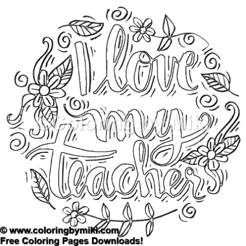 I Love My Teacher Flower Wreath Coloring Page 487