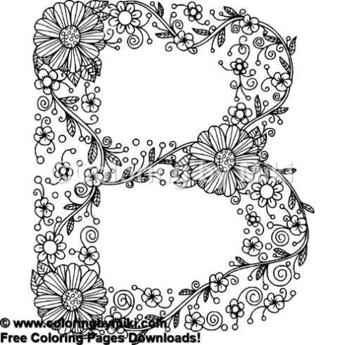 Floral Alphabets B Coloring Page 641 Coloring By Miki
