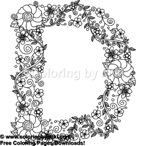 Floral Alphabets D Coloring Page 643 Coloring By Miki