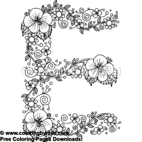 Floral Alphabets E Coloring Page 644 Coloring By Miki