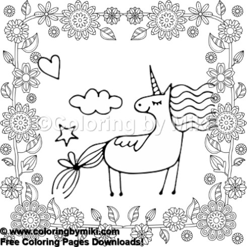 Unicorn Flower Wreath Coloring Page 657 Coloring By Miki
