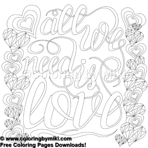 Zen Doodle Love Quote Coloring Page 690 Coloring By Miki