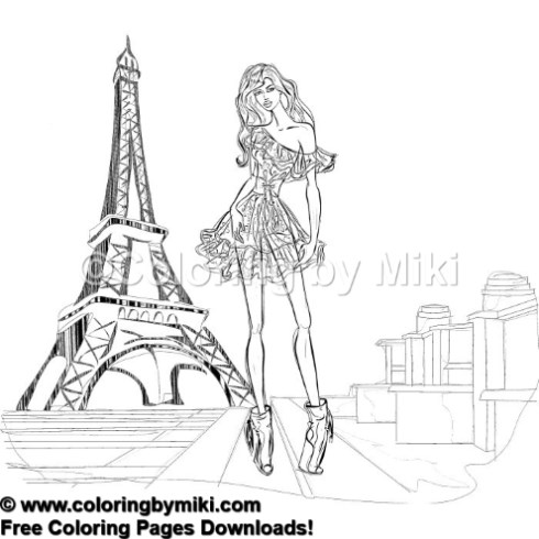 Fashion Girl In Paris Coloring Page 711 Coloring By Miki