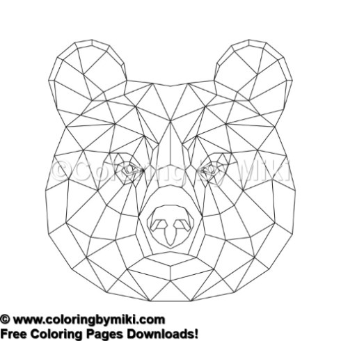 Geometric Brown Bear Coloring Page #725 – Coloring by Miki