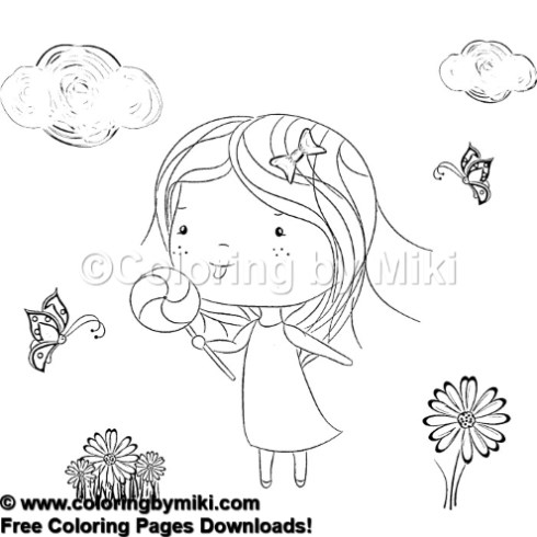 Cute Girls Spring Coloring Page 732 Coloring By Miki