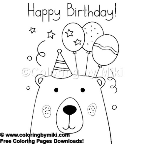 Happy Birthday Bear Coloring Page 737 Coloring By Miki