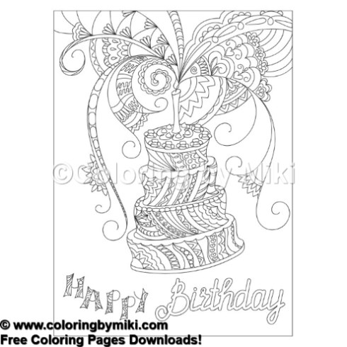 Happy Birthday Zentangle Cake Coloring Page 739 Coloring By Miki