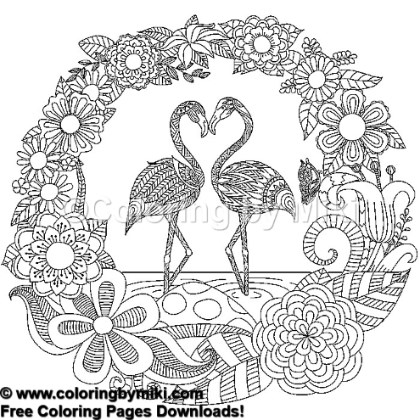 Flamingo Couple Coloring Page 757 Coloring By Miki
