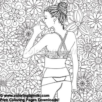 Zentangle Background Yoga Girl Coloring Page 804 Coloring By Miki