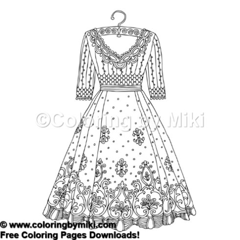 Fashion Dress Coloring Page 815 Coloring By Miki