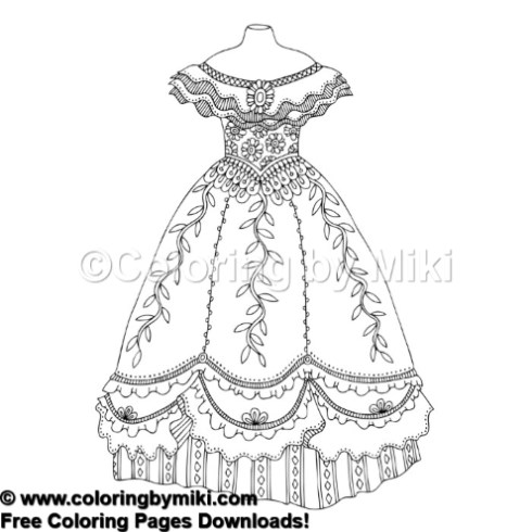 Fashion Dress Coloring Page 818 Coloring By Miki