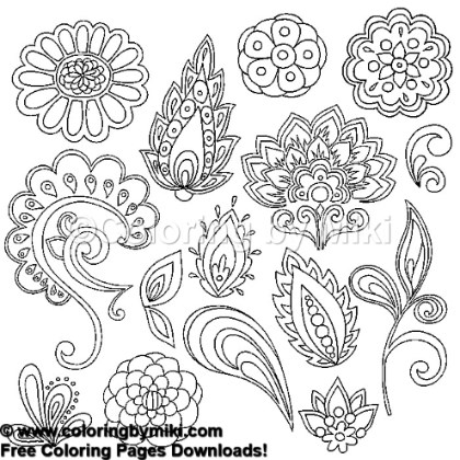 Henna Tattoo Design Coloring Page 850 Coloring By Miki