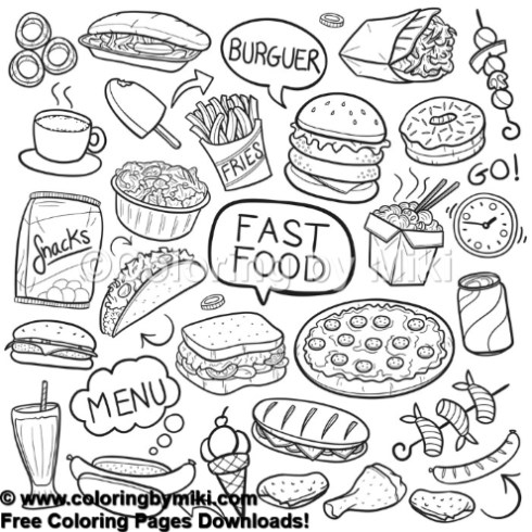Fast Food Menu Coloring Page 853 Coloring By Miki