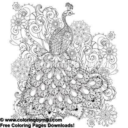 Zentangle Peacock With Flowers Coloring Page 890 Coloring By Miki