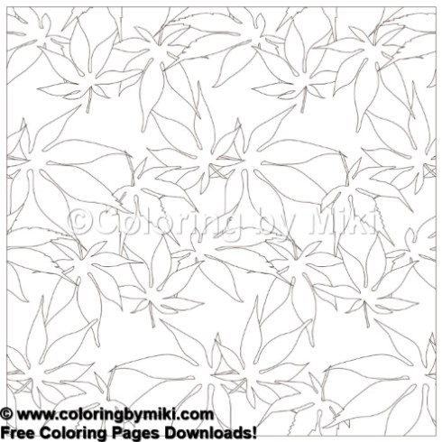 Wagara Seamless Japanese Maple leaf Pattern Coloring Page