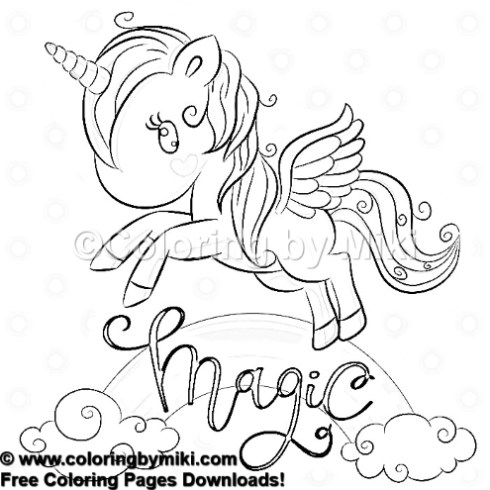 Cartoon Unicorn Flying Over The Rainbow Coloring Page 1003