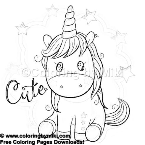 Cartoon Cute Unicorn Coloring Page 1004 Coloring By Miki