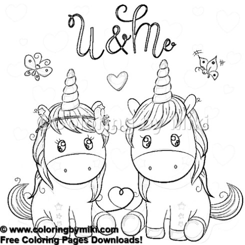 Cartoon Cute Unicorn Couple Coloring Page 1005 Coloring By Miki