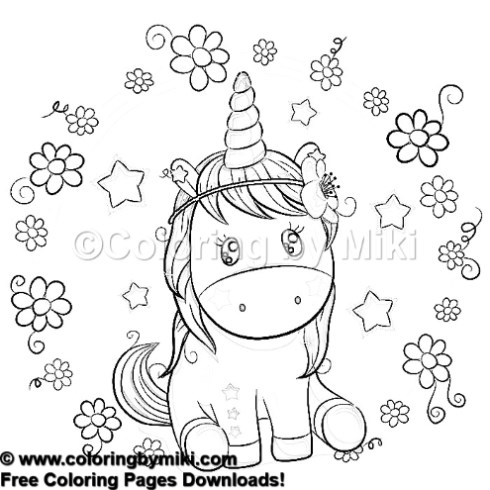 Cartoon Unicorn Flowers Background Coloring Page 1006 Coloring By