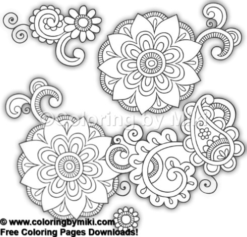 Henna Doodle Design Coloring Page 1019 Coloring By Miki
