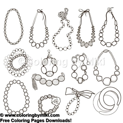 Jewelry Necklace Coloring Page 1024 \u2013 Coloring by Miki