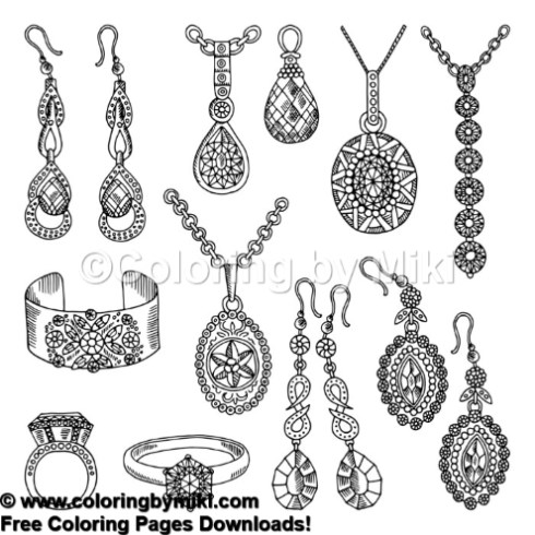 Jewelry Accessories Coloring Page 1027 \u2013 Coloring by Miki