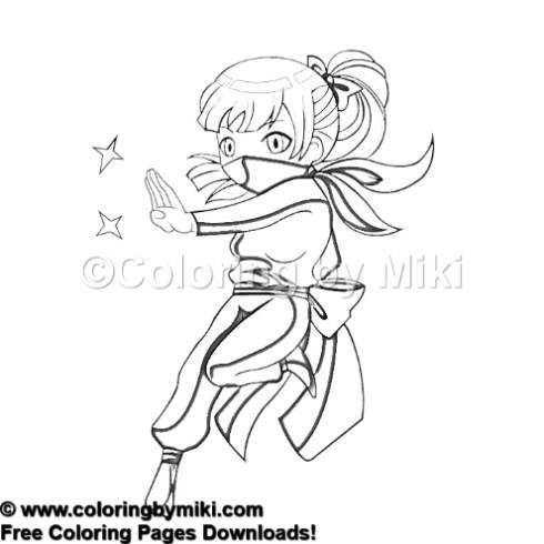 Anime Girl Martial Arts Ninjya Coloring Page 1043 Coloring By Miki