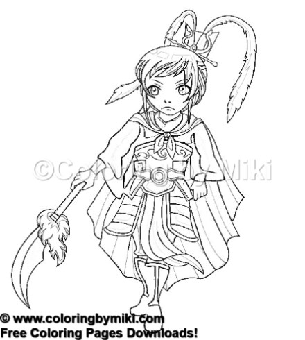 Anime Girl Martial Arts Commander Coloring Page 1044 Coloring By Miki