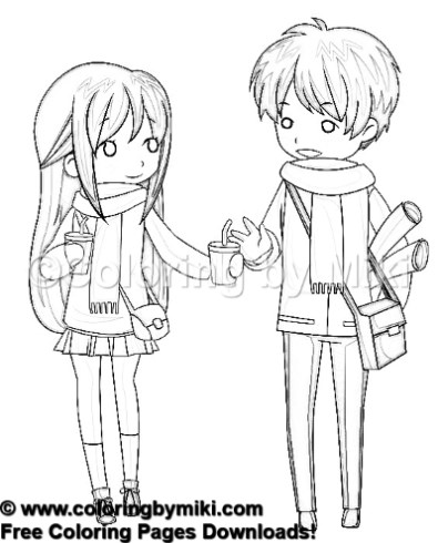 Anime Couple In Winter Coloring Page 1047 Coloring By Miki