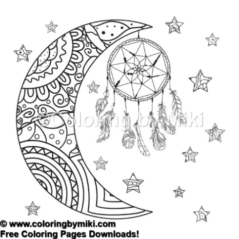 Tribal Dream Catcher With Zentangle Moon And Stars Coloring Page