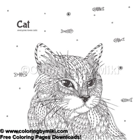 Zentangle Cat Coloring Page 944 Coloring By Miki