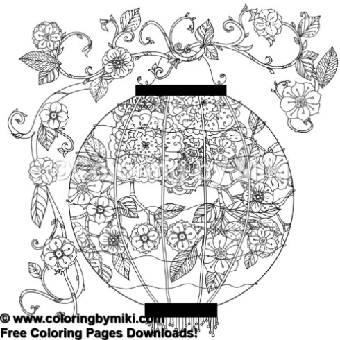 Japanese Flowers With Lantern Coloring Page 948 Coloring By Miki