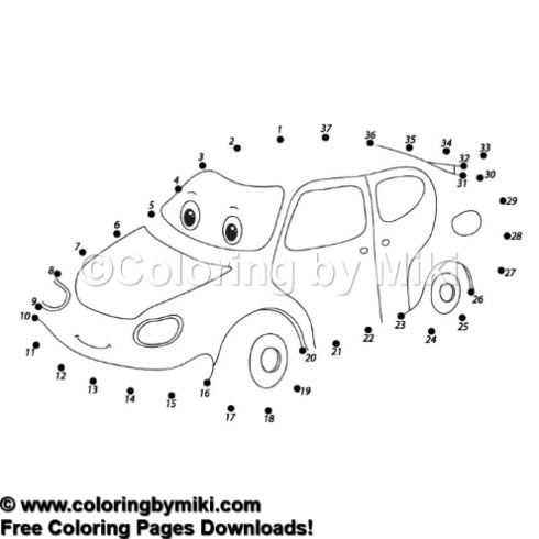 Dot To Dot Game Cartoon Car Coloring Page 1083 Coloring By Miki