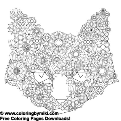 Floral Cat Coloring Page 1141 Coloring By Miki