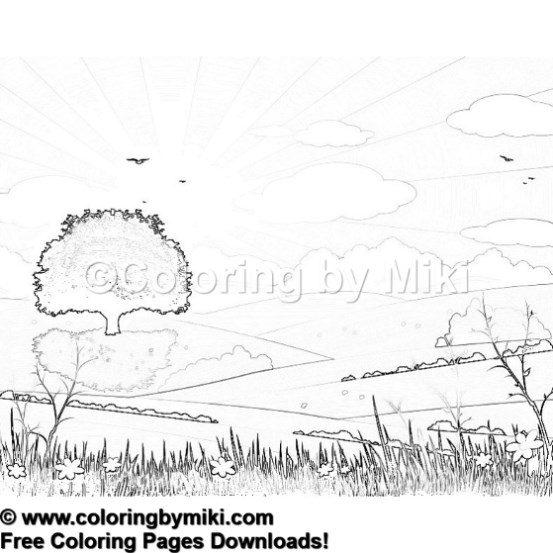 Nature Landscape Coloring Page 1184 Coloring By Miki