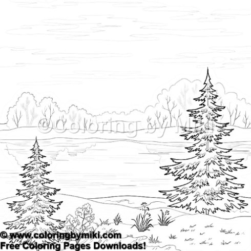 Nature Landscape Coloring Page 1185 Coloring By Miki