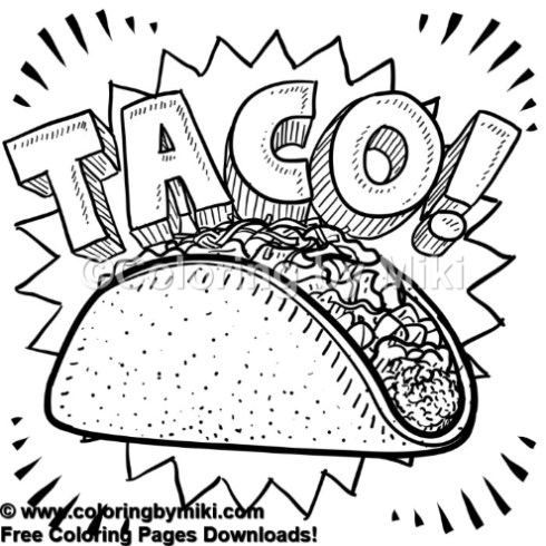Fast Food Taco Coloring Page 1237 Coloring By Miki