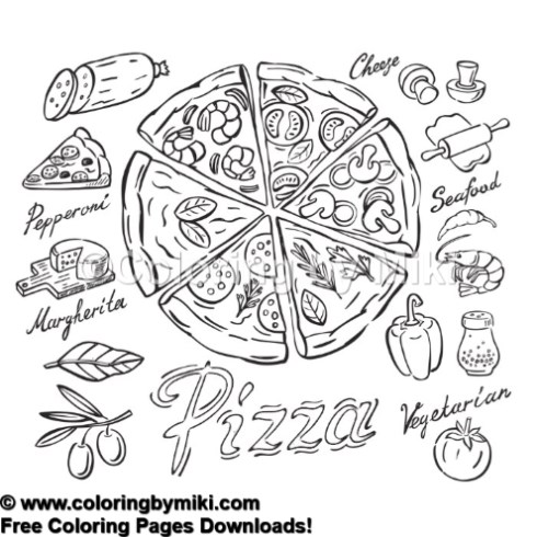Fast Food Pizza Coloring Page 1238 Coloring By Miki