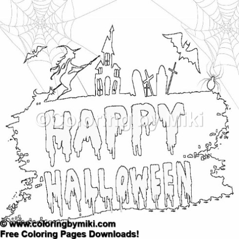 Halloween Spooky Coloring Page 1247 Coloring By Miki