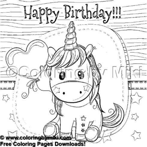 Birthday Card Cute Unicorn Coloring Page #1717 - Coloring ...