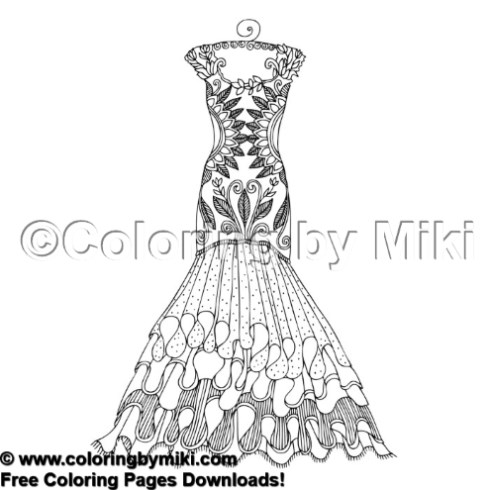 Ladies Fashion Trumpet Dress Coloring Page 1764 \u2013 Coloring