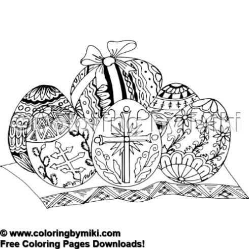 Elegant Easter Eggs Coloring Page #1907 - Coloring by Miki
